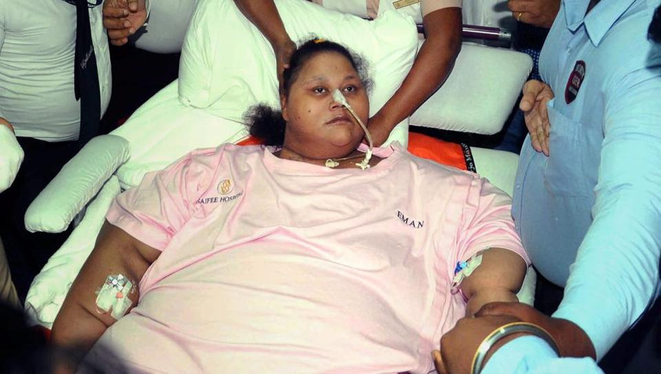 Egyptian woman Eman Ahmed was in Mumbai's Saifee Hospital for a weight loss treatment and was transferred to VPS Healthcare's Burjeel Hospital on May 4.
