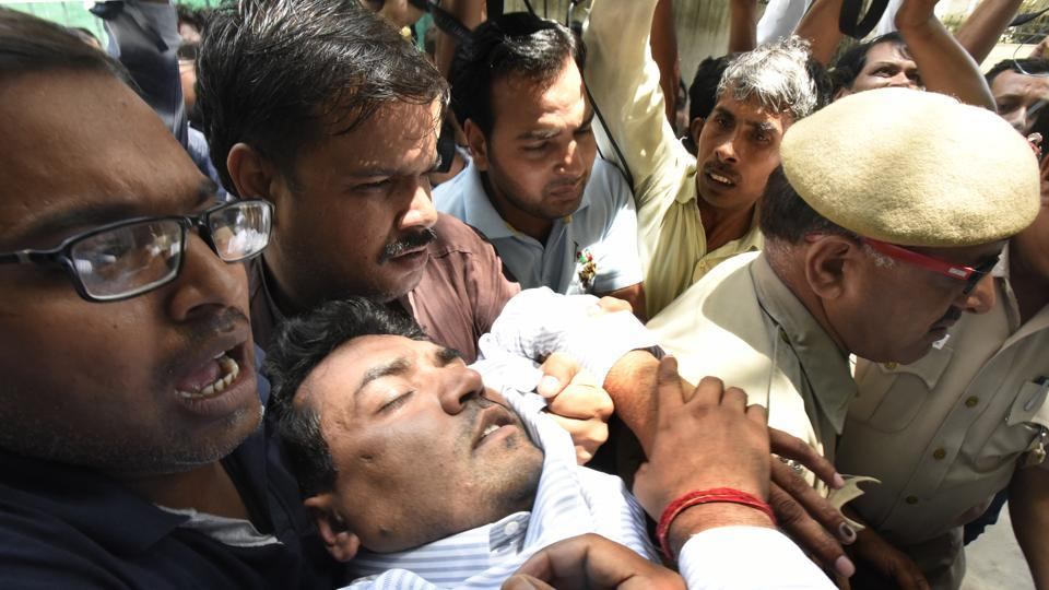 Sacked Delhi water minister, Kapil Mishra fell unconscious after addressing a press conference about the Aam Aadmi Party's donation sources on Sunday.