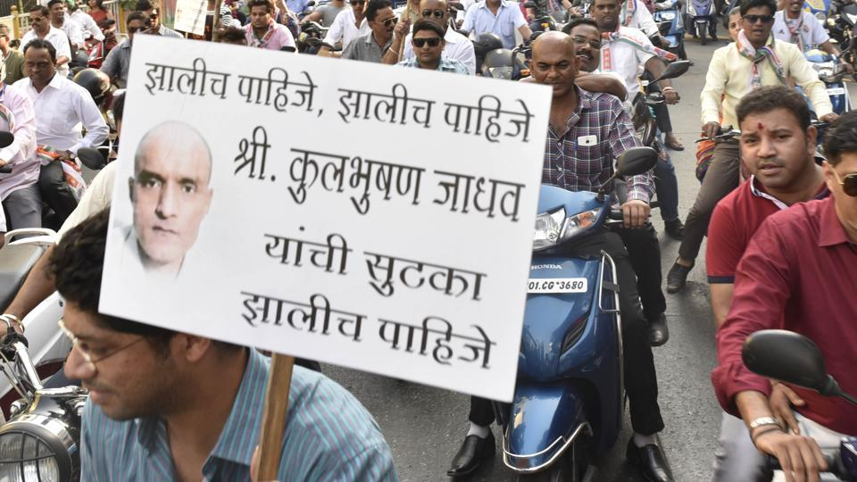 A protest rally in Mumbai against Kulbhushan Jadhav's death sentence by Pakistan.