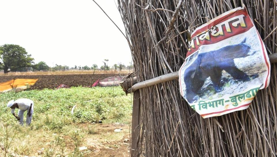 A warning sign for villagers at a farm near village Dongar Sheuli.