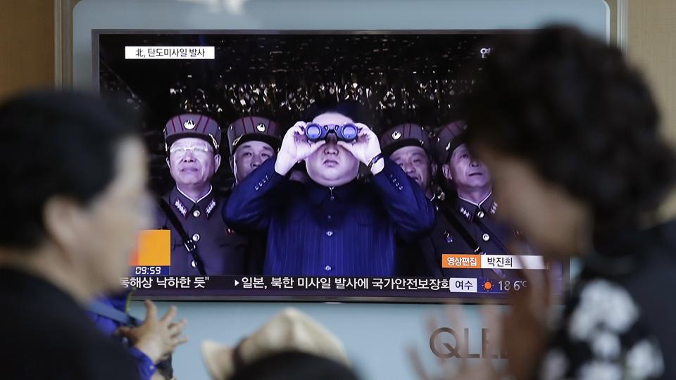 A TV news programme shows a file image of North Korean leader Kim Jong Un at the Seoul Railway Station in Seoul, South Korea on May 14, 2017. North Korea test-launched a ballistic missile that landed in the Sea of Japan, the South Korean, Japanese and US militaries said.