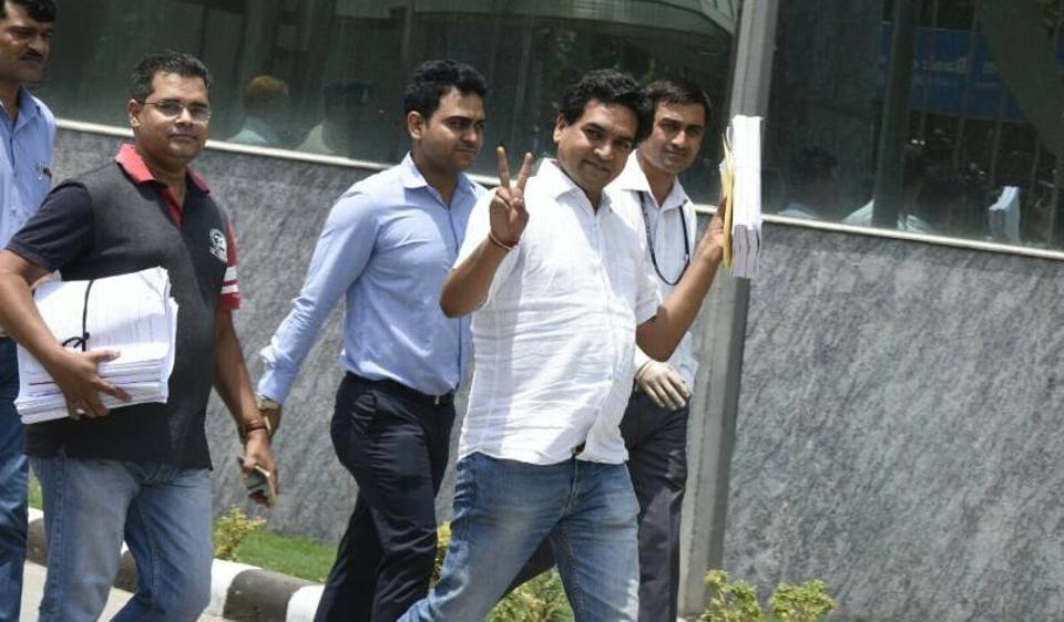 Sacked Delhi minister Kapil Mishra at CBI office in New Delhi on Tuesday.