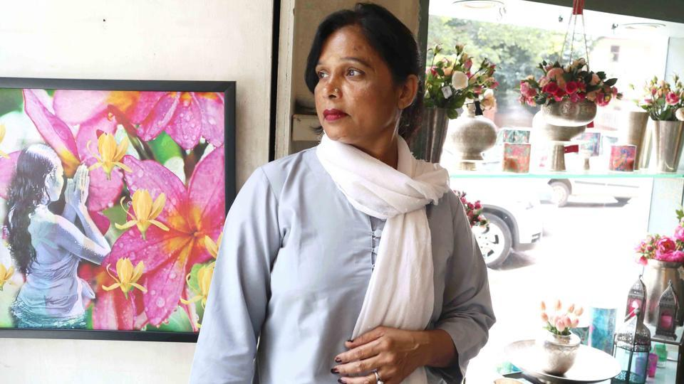 Geeta Devi, works at a luxury home decor store in Khan Market.