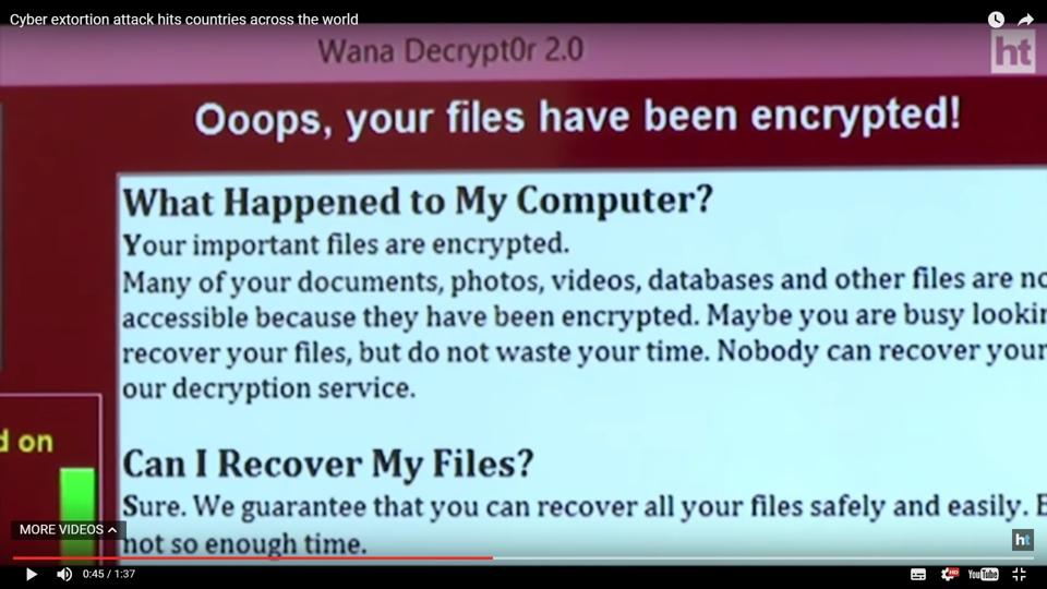 A video grab of the message that shows up on computers infected with the malware.