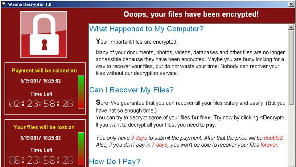 A screenshot shows a WannaCry ransomware demand, provided by cyber security firm Symantec.