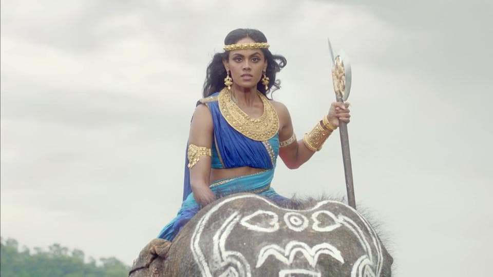 Karthika Nair atop an elephant during the shoot of the upcoming TV show, Aarambh.