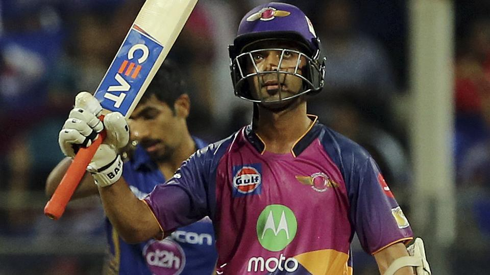 Rising Pune Supergiant opener Ajinkya Rahane celebrates his fifty during their Indian Premier League (IPL) Qualifier 1 match against Mumbai Indians.