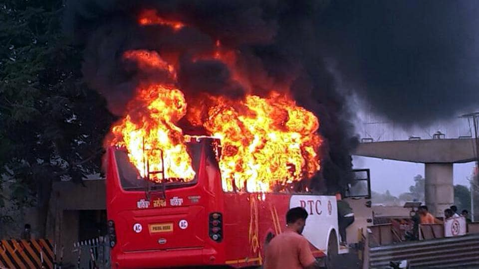 Bathinda bus fire,Rampura Phul,fire mishap