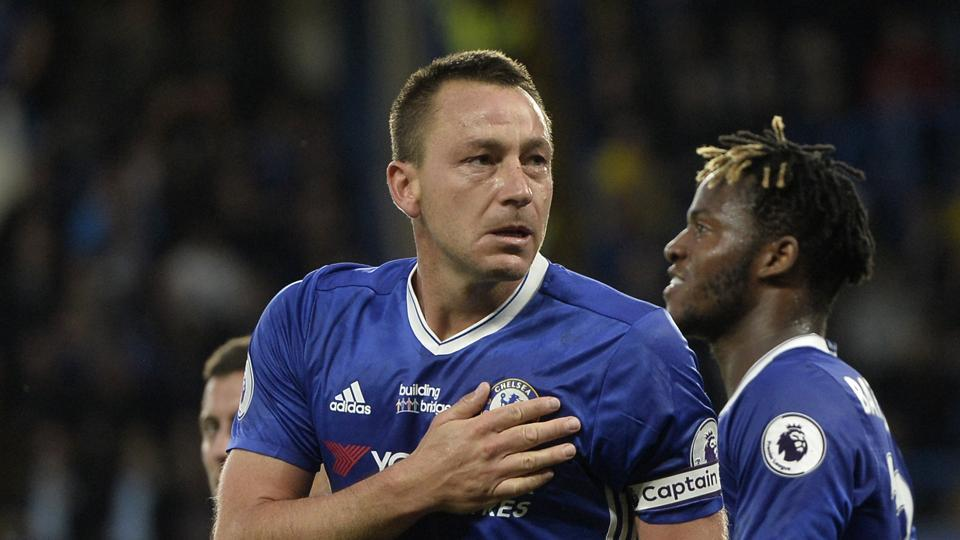 Chelsea's John Terry is emotional as he celebrates scoring their first goal against Watford in a Premier League game.