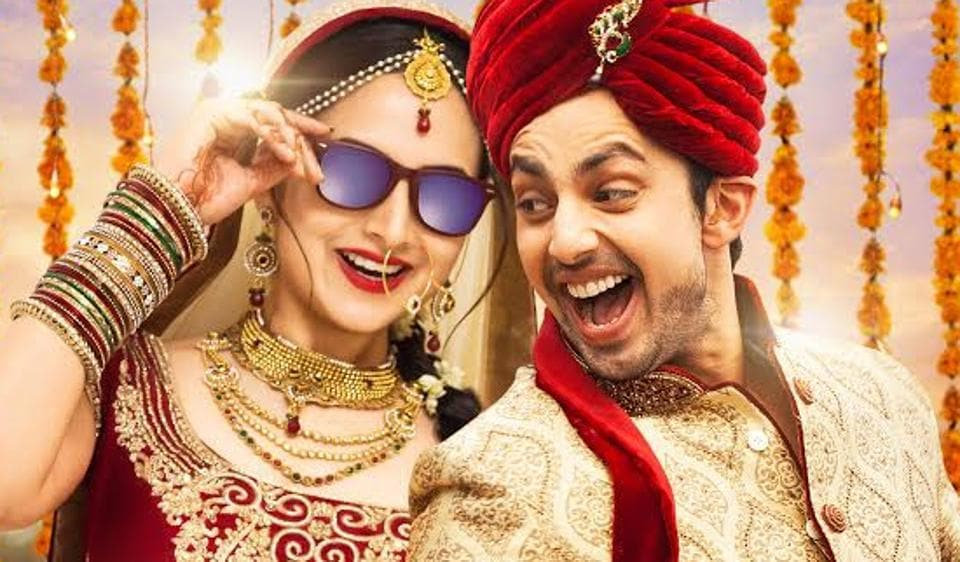 Himansh Kohli and Zoya Afroz on the poster of Sweetie Weds NRI.
