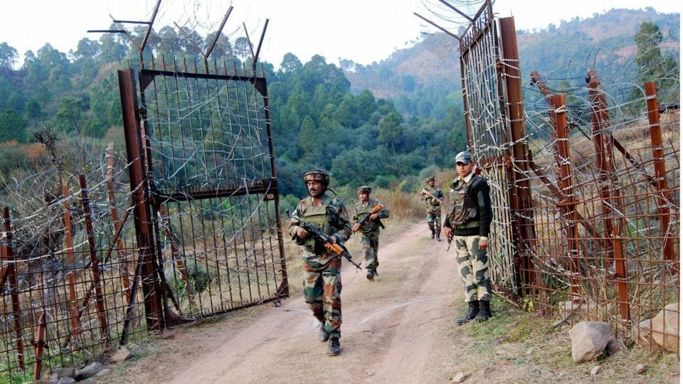 Soldiers take position near the Line of Control in Poonch after cross-border shelling from Pakistan.