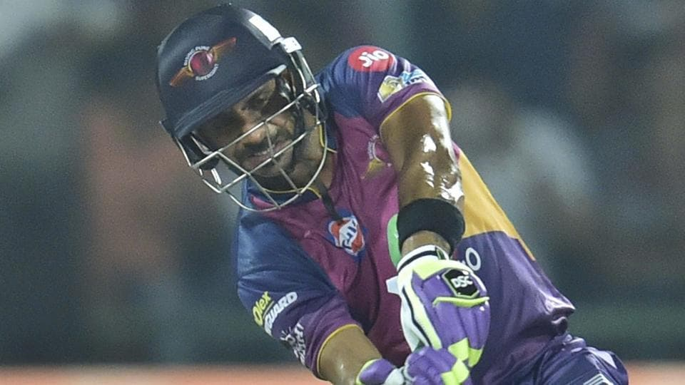 Rising Pune Supergiant batsman Manoj Tiwari plays a shot during the IPL 2017 Qualifier 1 against Mumbai Indians.