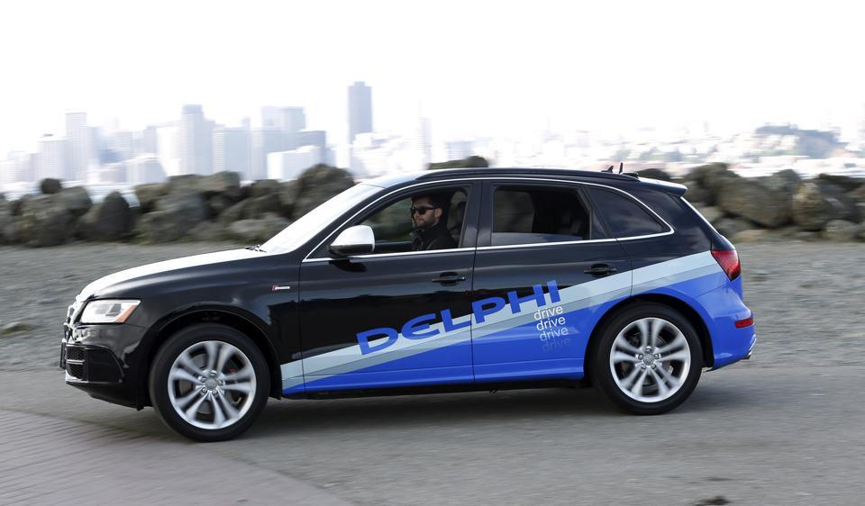 An autonomous car from Delphi departs Treasure Island for a cross-country trip from San Francisco to New York City in San Francisco, California, US.
