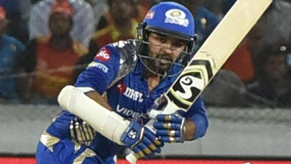 Parthiv Patel of Mumbai Indians plays a shot during the IPL 2017 Qualifier 1 match against Rising Pune Supergiant.