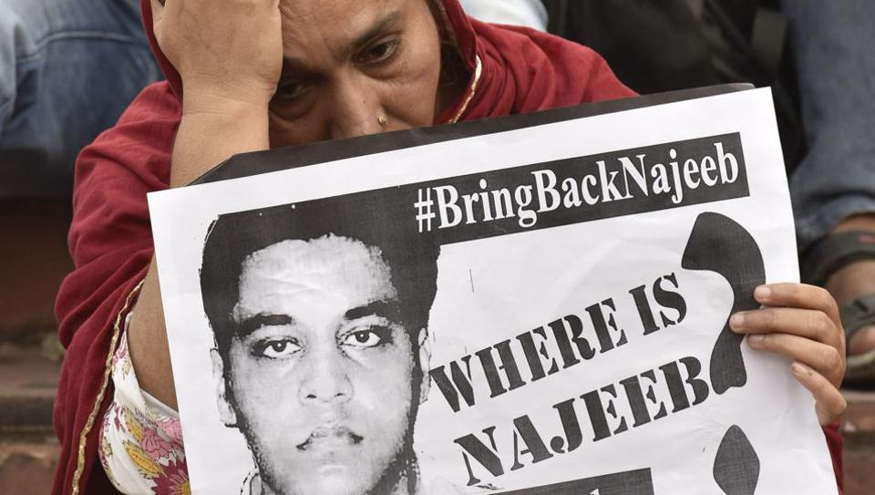 Najeeb Ahmad, 27, a first year MSc student, had gone missing from the JNU hostel on the night of October 14-15 last year after an alleged row with members of Akhil Bharatiya Vidyarthi Parishad (ABVP).