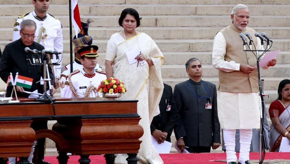 Prime Minister Narendra Modi at his swearing-in ceremony at the Rashtrapati Bhavan.