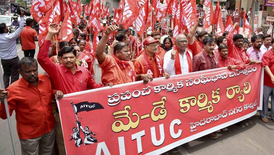 Members of All India Trade Union Congress take part in a rally in Hyderabad.