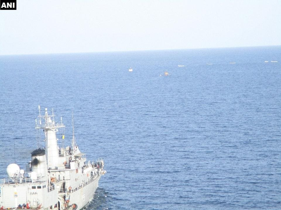 A navy warship foiled a piracy bid in the Gulf of Aden.