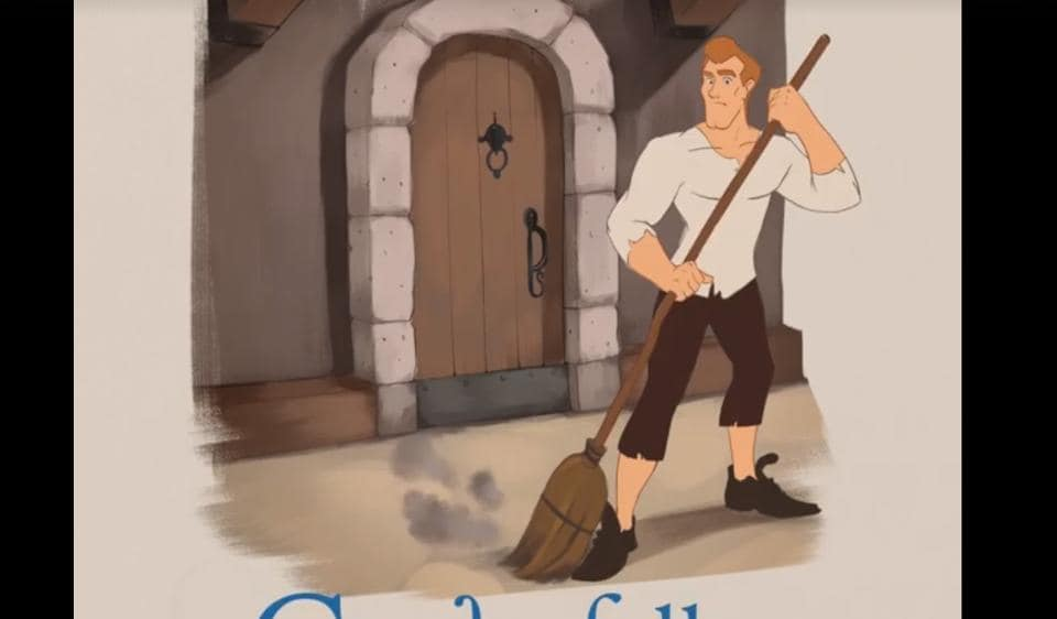A still from the viral video Cinderfella, which narrates the story of Cinderella through a male protagonist.