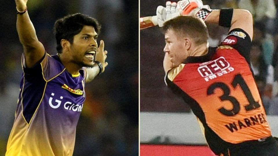 David Warner and Umesh Yadav will square off in the IPL 2017 Eliminator between Sunrisers Hyderabad and Kolkata Knight Riders at the M Chinnaswamy Stadium on Wednesday.