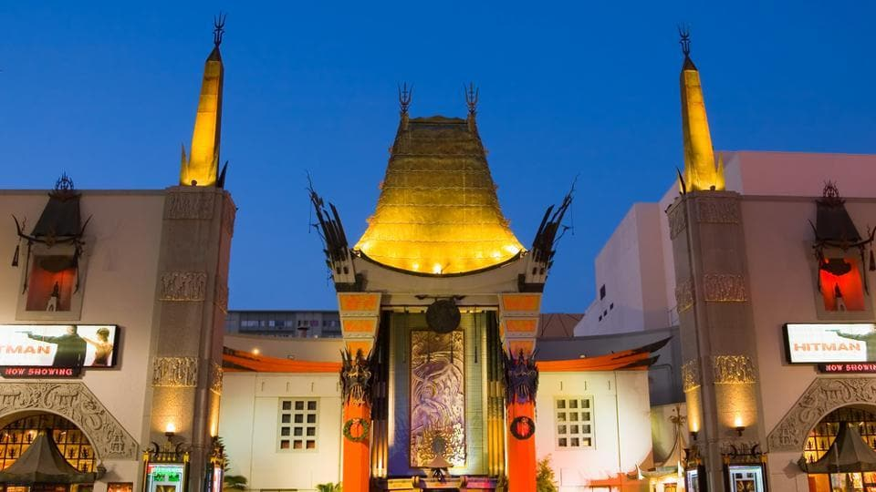 The TCL Chinese Theatre at night.