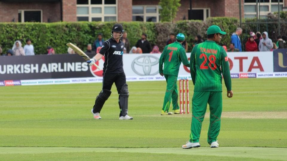 Jimmy Neesham acknowledges his teammates and the crowd after completing his half-century. Catch highlights of Bangladesh vs New Zealand here.