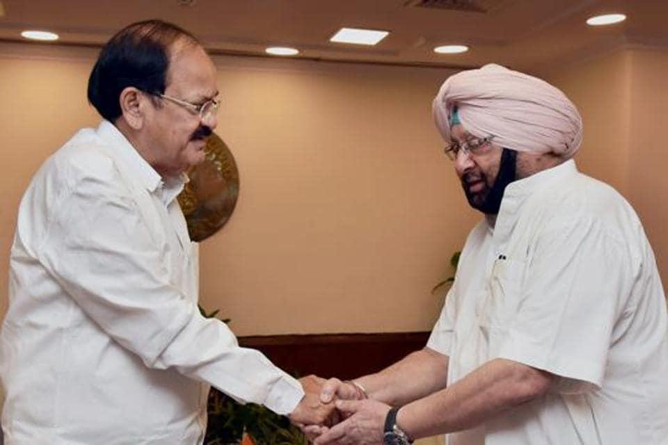 Punjab  chief minister Captain Amarinder Singh meeting Union minister M Venkaiah Naidu in New Delhi on Wednesday.