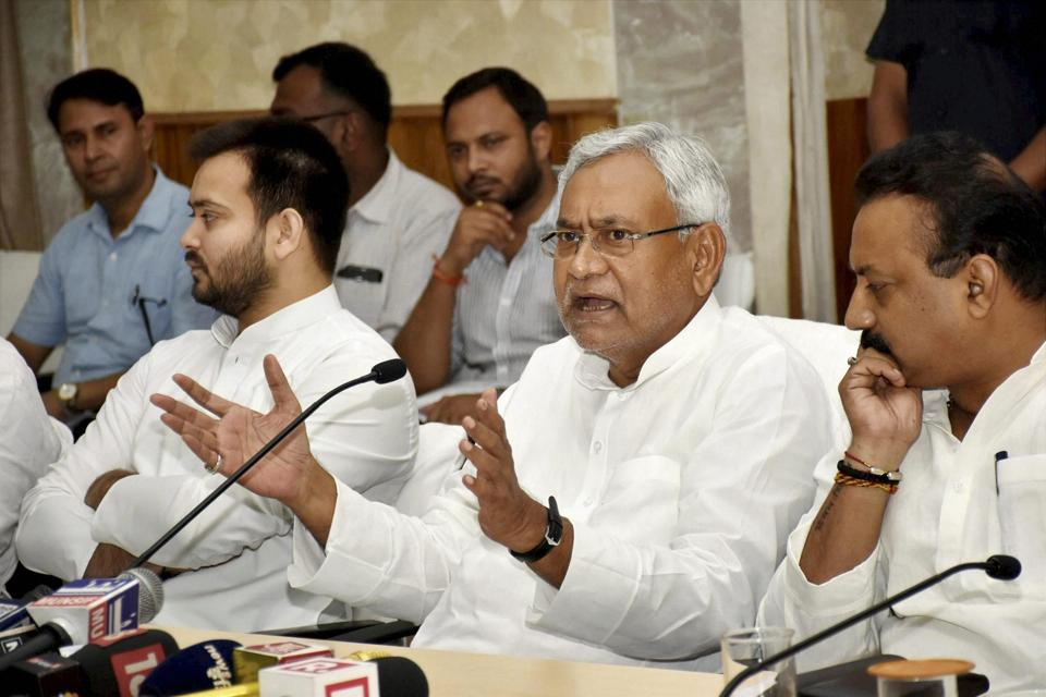 Bihar chief minister Nitish Kumar addresses a press conference at the CM Secretariat in Patna on Monday.