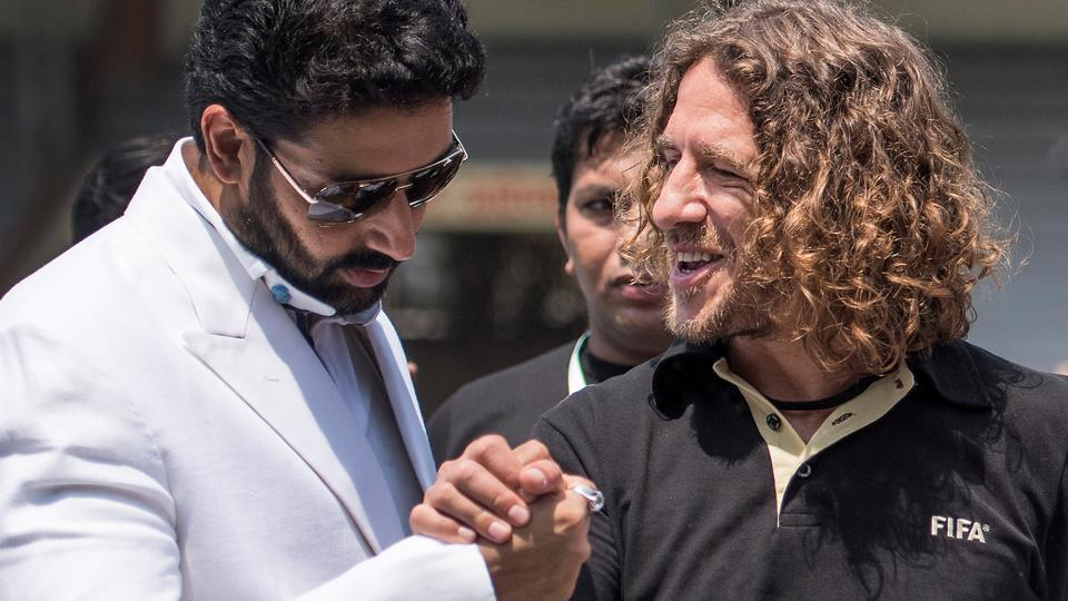 Meet and greet: Puyol with actor Abhishek Bachchan. (Satish Bate/HT Photo)