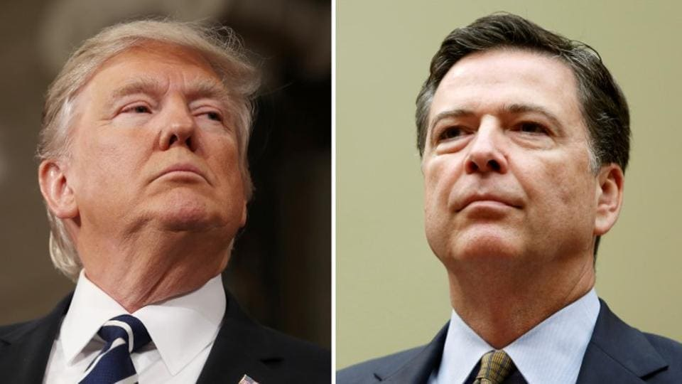 A combination photo shows US President Donald Trump (L) in the House of Representatives in Washington, on February 28, 2017 and the then  FBI Director James Comey in Washington on July 7, 2016.
