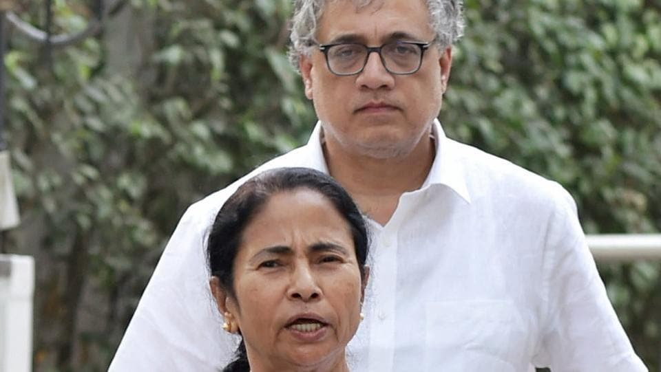 West Bengal chief minister Mamata Banerjee talks to the media after meeting with Congress president Sonia Gandhi at her residence in New Delhi on Tuesday. TMC MP Derek O'Brien is also seen.