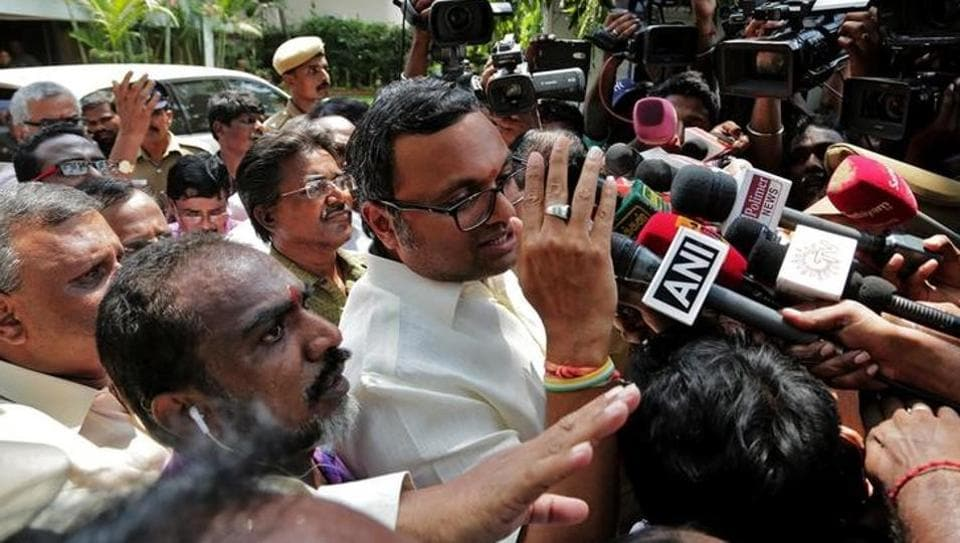 Karti Chidambaram, son of former finance minister P Chidambaram, talks to the media after the CBI raided his house in Chennai.