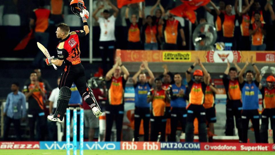 Sunrisers Hyderabad captain David Warner celebrates his century against Kolkata Knight Riders in Hyderabad. SRH face KKR in Bangalore on Wednesday in an IPL 2017 playoff tie. Ricky Ponting feels Sunrisers Hyderabad are the favourites.
