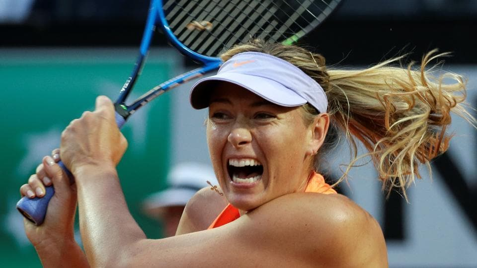 Maria Sharapova in action during the Rome Open tennis tournament on Tuesday.