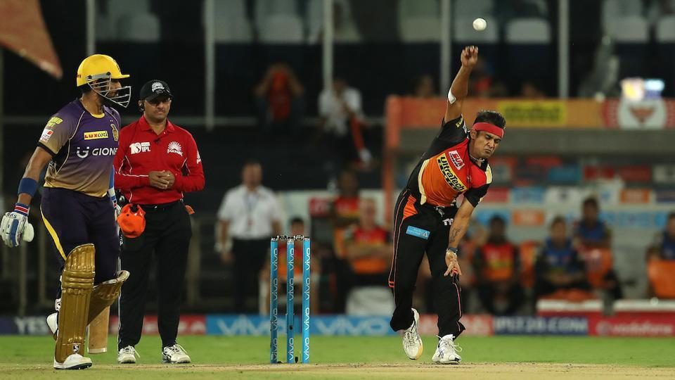 Siddarth Kaul of the Sunrisers Hyderabad in action against Kolkata Knight Riders held at the Rajiv Gandhi International Cricket Stadium in Hyderabad on April 30. SRH face KKR in an IPL 2017 eliminator on Wednesday. Get live cricket score of SRH vs KKR here.