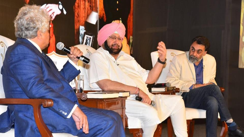 Amarinder responding to a question during a panel talk at the Delhi launch of his new book on Saragarhi battle and his biography on Wednesday, May 17.