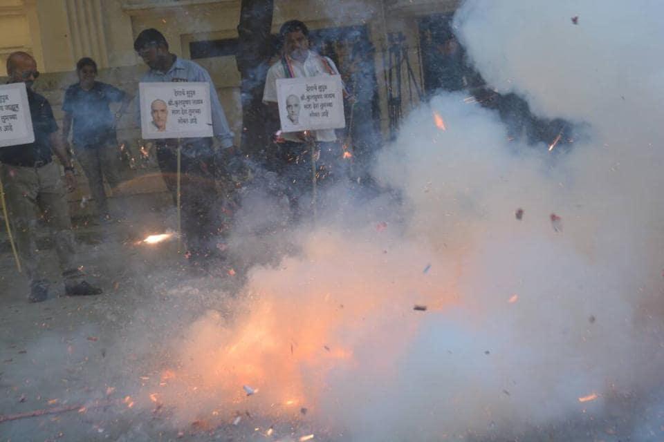 Celebrations outside Jadhav's house in Powai, Mumbai.