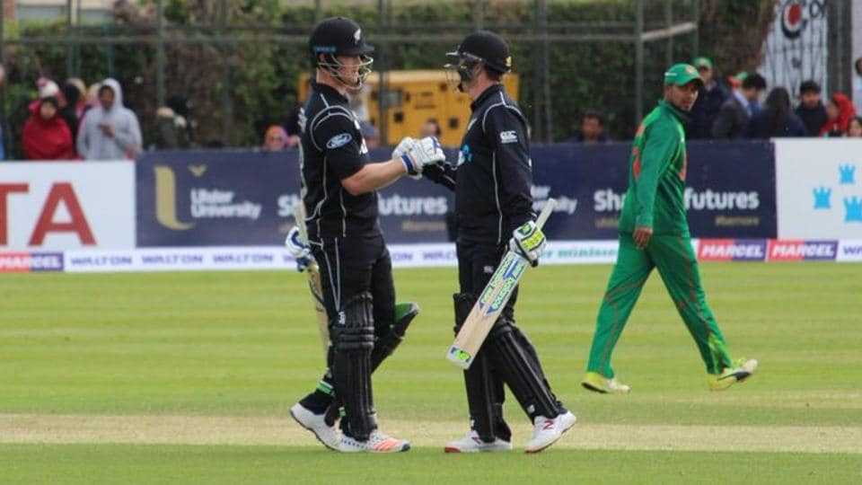 New Zealand saw off Bangladesh with four wickets to spare in a tri-nation ODI match in Dublin.