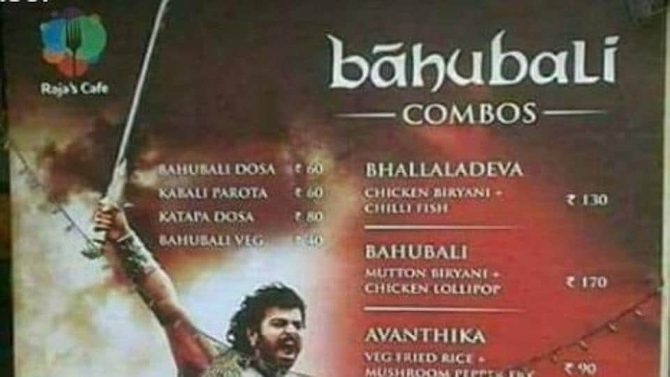 A photograph of the Baahubali-inspired food menu that is being circulated on the Facebook page of FoodAdvisor, a group of food enthusiasts.