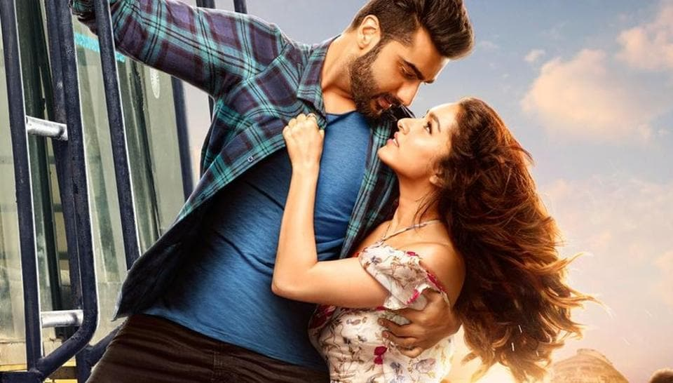 Arjun Kapoor and Shraddha Kapoor on a poster of Half Girlfriend.
