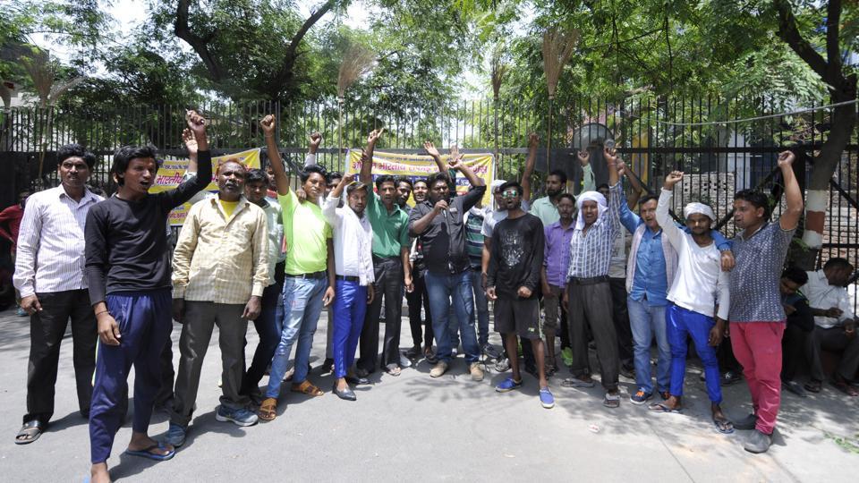 Sanitation employees are demanding permanent jobs.
