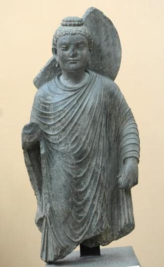 A Buddha statue from the 2nd century AD, at Government Museum, Sector 10, Chandigarh. (Anil Dayal/HT)
