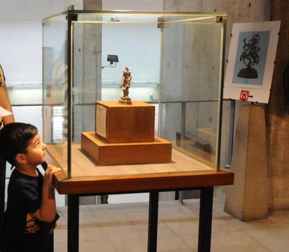 A child at Government Museum, Sector 10, in Chandigarh on Thursday, which happened to be International Museum Day. (Anil Dayal/HT)