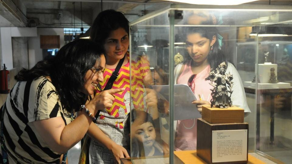 Visitors at Government Museum, Sector 10, in Chandigarh on Thursday, which happened to be International Museum Day. (Anil Dayal/HT)