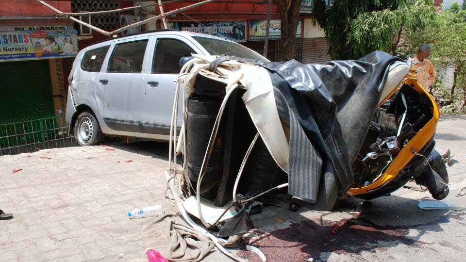 The mangled remains of the autorickshaw.
