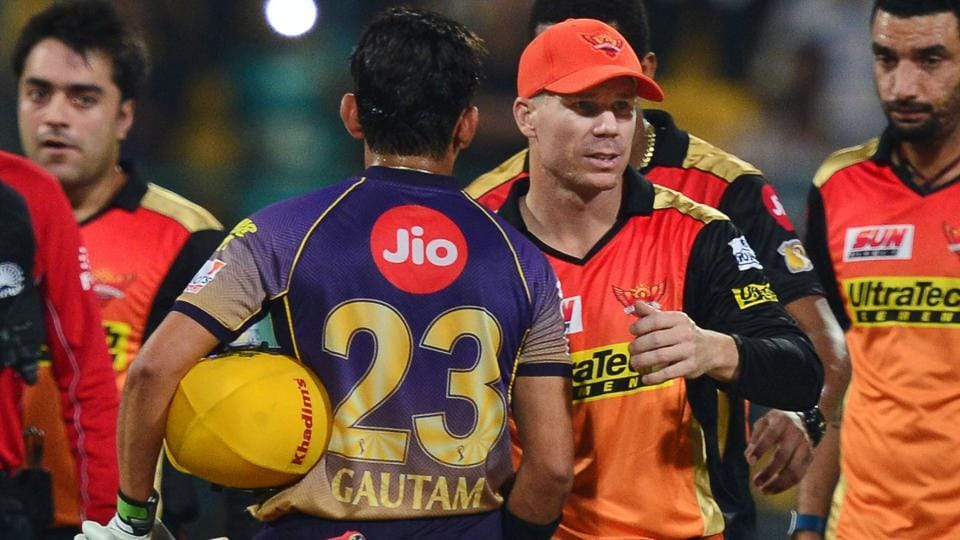 Sunrisers Hyderabad captain David Warner greets Kolkata Knight Riders skipper Gautam Gambhir after the latter's win in an Indian Premier League (IPL) 2017 Eliminator.