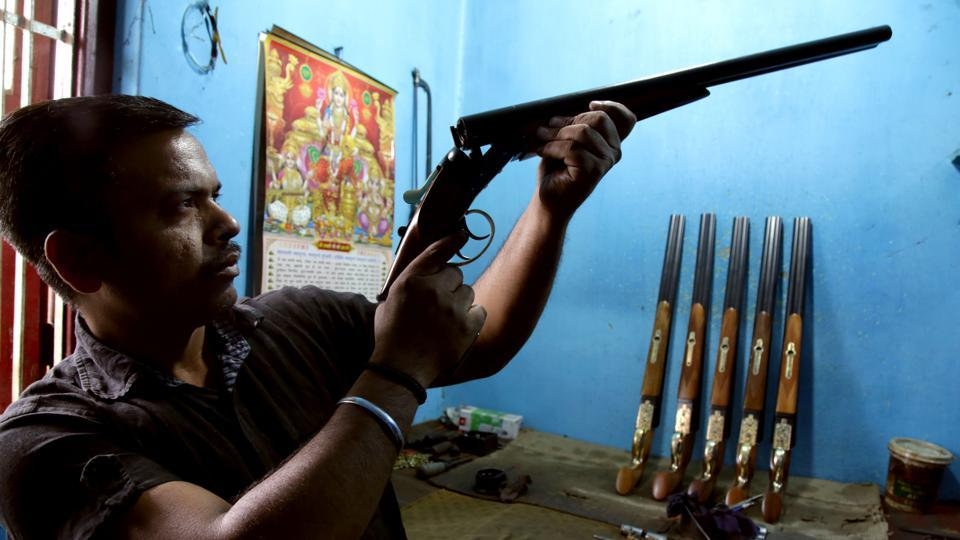 Owners of the gun factory have to make around 1500 guns in a year depending upon the demand in the market.  (Nitin Kanotra/HT Photo)