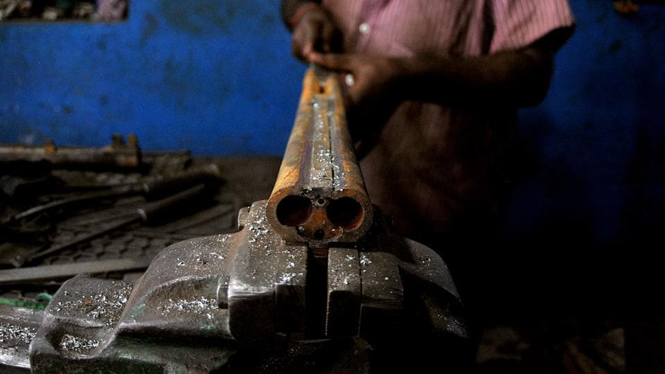 The butts are made of Kashmiri walnut wood while the barrel, trigger and other metal parts come from Punjab and New Delhi.  (Nitin Kanotra/HT Photo)