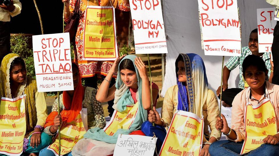 A group of women protest against 'Triple Talaq' at Jantar Mantar in New Delhi.