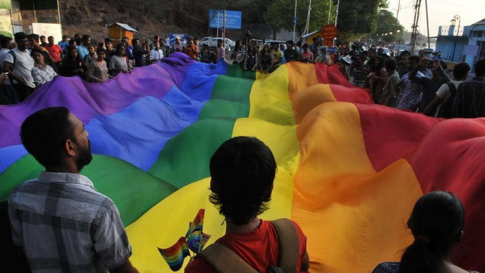 The rainbow flag, commonly known as the gay pride flag or LGBT pride flag is a symbol of lesbian, gay, bisexual, and transgender pride and LGBT social movements.  (Mujeeb Faruqui/HT Photo)